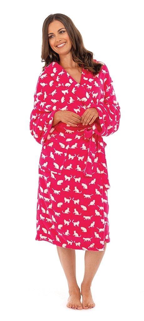 444a0f90fd LUXURY WOMENS FULL LENGTH CAT BATH ROBE VELOUR FLEECE DRESSING GOWN  HOUSECOAT ROBES + BELT GIFT GIRLS LADIES PINK/WHITE MEDIUM/LARGE:  Amazon.co.uk: Clothing
