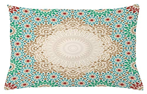 """Ambesonne Moroccan Throw Pillow Cushion Cover, Ottoman Mosaic Art Pattern with Oriental Floral Forms Antique Scroll Ceramic Boho, Decorative Rectangle Accent Pillow Case, 26"""" X 16"""", Cream Turquoise"""