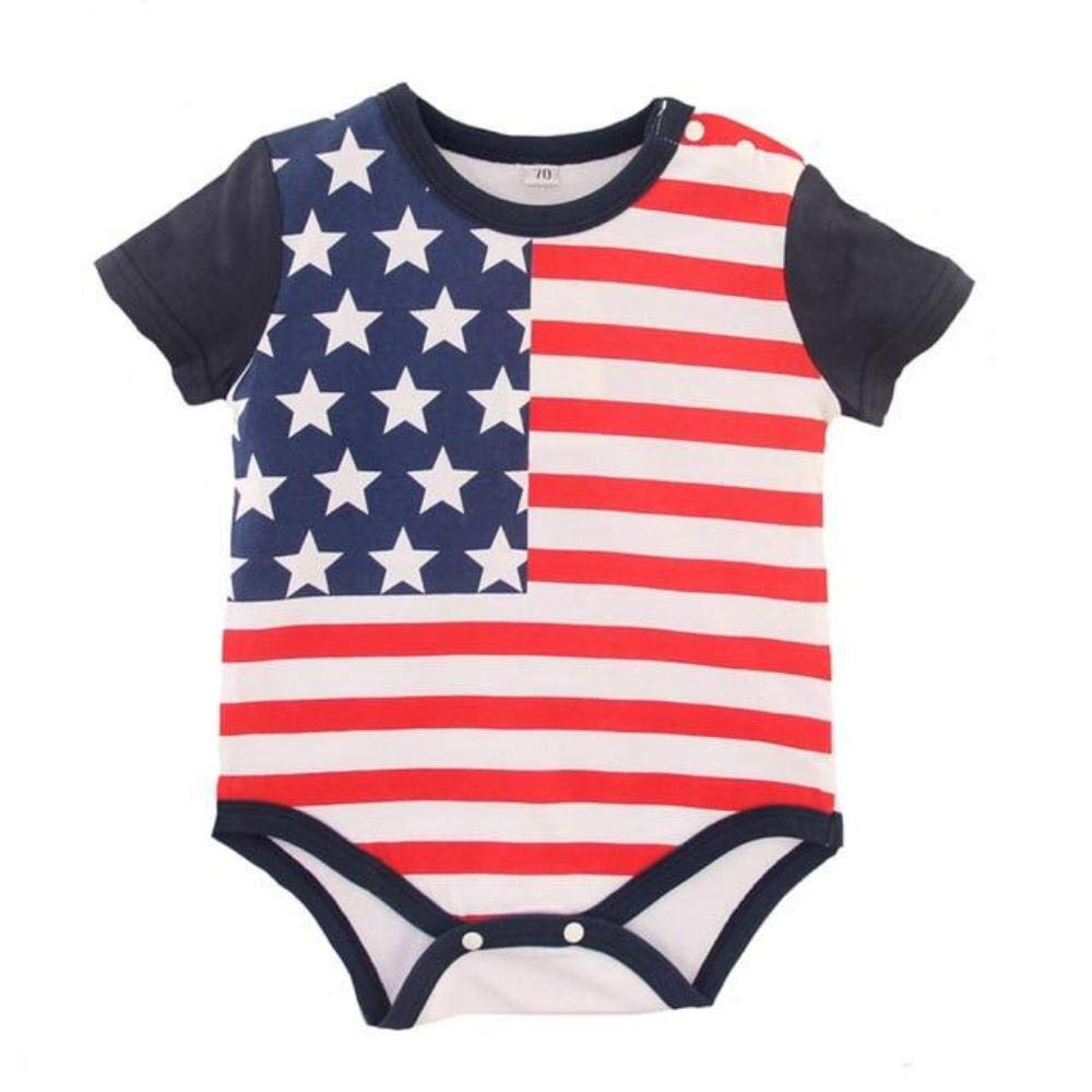 Styles and wear Baby Girl boy Clothes Babysuit Summer Thin Romper US Flag Printing