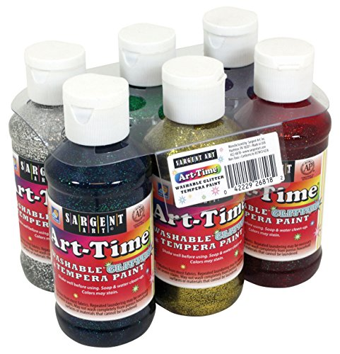 Sargent Art 22-6818 6-Pack 4oz Art-Time Washable Glitter Tempera Paints by Sargent Art