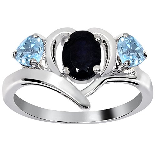 925 Sterling Silver Oval Shaped Natural Sapphire and Blue topaz Ring for Women, Three Stone Ring, September Birthstone, Perfect for Mother Day, Birthday, Free Gift Box (1.55 Cttw, 7x5 MM Oval)