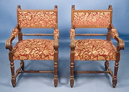 Amazon.com: Par de Antique Victorian roble tapizado sillones ...