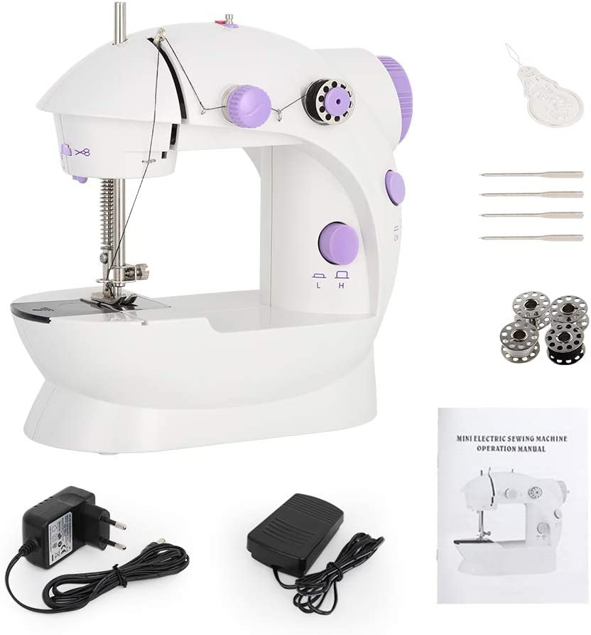 Mini Sewing Machine Handheld Portable Electric Sewing Machines Adjustable 2-Speed with Foot Pedal for Kids Childrens Beginners Purple Embroidery Machine for Home Sewing