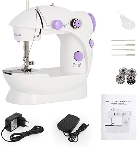 Electric Portable Mini Sewing Machine Adjustable 2 Speed Foot Pedal LED Light AA