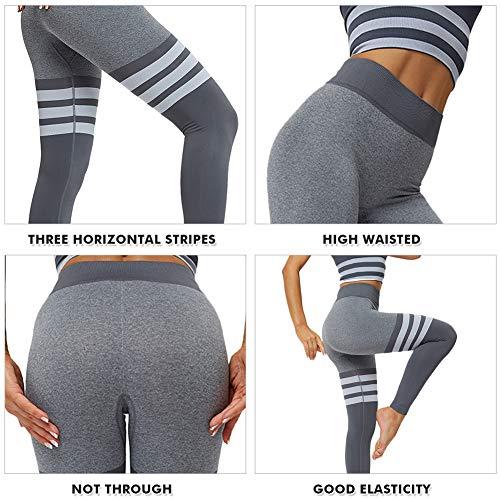 NanaDay Yoga Pants for Women Vital Seamless Leggings Tummy Control Workout Pants Butt Lift Sport Tights(G-M) Grey