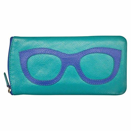 ili 6462 Leather Eyeglass Case (Aqua/ - Glasses Case Zipper