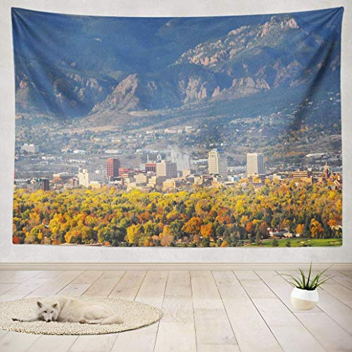 YGUII Tapestry Wall Art Colorado Springs Downtown Park Skyline Autumn Beautiful City Wall Hanging Tapestry for College Adults Kids' Room Decor Wall Blanket 60