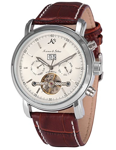 German Mechanical Watches (KS Aviator Automatic Mechanical Date White Dial Men's Sport Wrist Watch KS004)