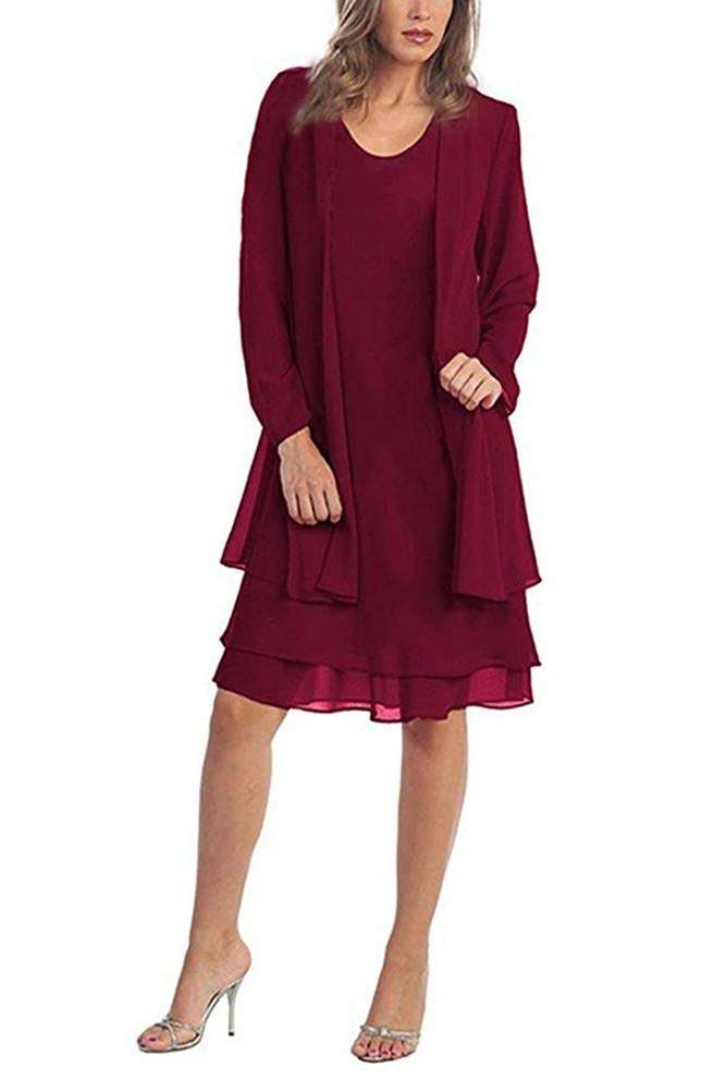Women\'s Chiffon Mother of The Bride Dress with Jacket Plus Size Formal  Evening Church Gowns Burgundy