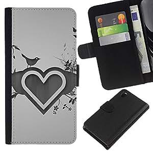 KingStore / Leather Etui en cuir / Sony Xperia Z3 D6603 / Dibujo Corazón Amor del Corazón Naturaleza Pájaro Flores