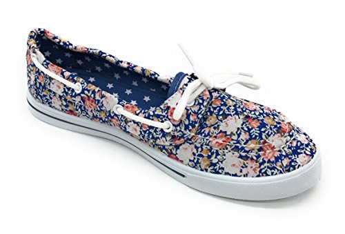 Flat EASY21 Toe Canvas Rose Comfy Shoe Blue Lace Round Tennis Sneaker Boat Berry Floral Slip up On Blue PU5wqXE