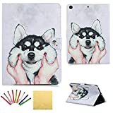 iPad 9.7 inch 2018 2017 Case - Uliking Smart Folio Stand PU Leather TPU Wallet with Card Pocket Pencil Holder [Stylus] Magnetic Auto Wake Sleep Cover for Apple iPad 6th 5th Generation - Cute Husky Dog