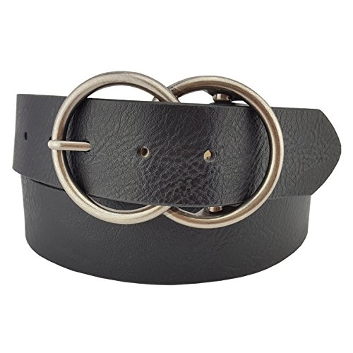 (Vegan Leathrette Jean Belt with Double Round Buckle in Black S/M)
