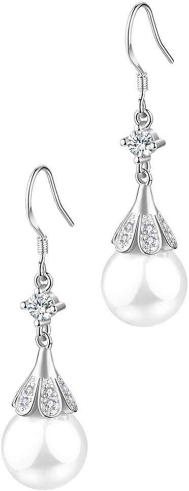Holibanna Pendientes Colgantes de Perlas Pendientes en Forma de Flor Pendientes de Plata Esterlina Pendientes Elegantes en Forma de Lágrima para Mujer Lady Adolescentes