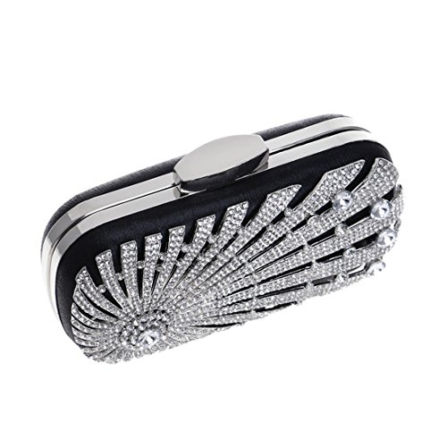 Bag Bag American Silver European Fly and Clutch Evening Evening New Bag Encrusted Bag Dress Evening Color Black Ladies Banquet Diamond wwCfaIq