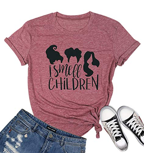 MOUSYA Halloween T-Shirt for Women of I Smell Children, Short Sleeve O-Neck Graphic Tee for Lady, ()