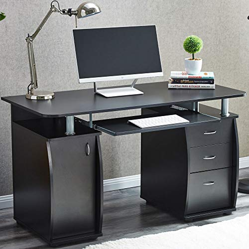 (NANI Computer Study Desk Laptop Table Writing Workstation W/Bookshelf Home Office | This Unique and Elegant Desk Features Sliding Keyboard Tray, Lockable Drawer, Multiple Shelves and Heavy Duty, Black)