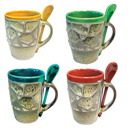 Mugs with Spoon (Set of 4) - 12 Ounce Cups Stoneware Ceramic Coffee Cup Handmade Unique Design Coffee and Tea Cups