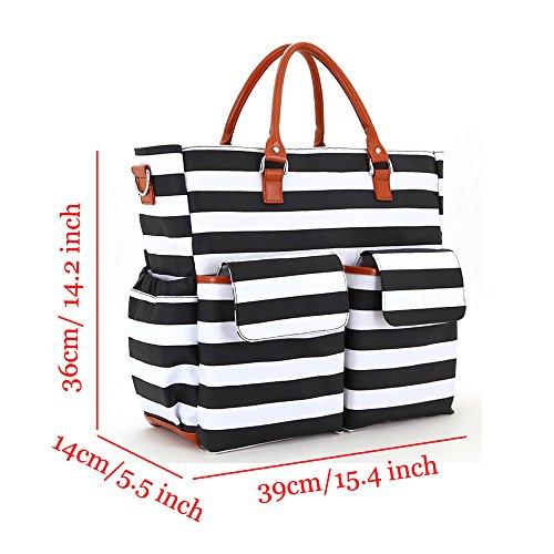 YuHan Bolsa para el cochecito del bebé, incluye cambiador de bolsillo y bolsillos para botellas y pañales, organizador bandolera de material aislante gris negro