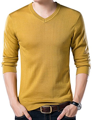 (Yeokou Men's Casual Slim V Neck Winter Wool Cashmere Pullover Jumper Sweater (Large, Yellow001))