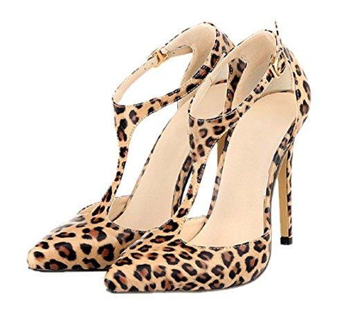 HooH Women's T-Strap Pointed Toe Stiletto Dress Sandals Leopard ylx1rrsT