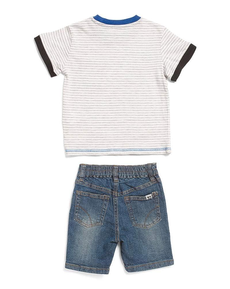 Joes Jeans 2-Piece Striped Tee /& Denim Short Set Toddler Boys White Multi 3T