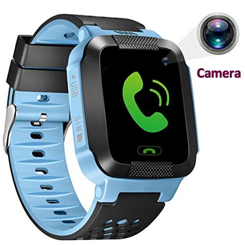 1.44 inch Touch Kids GPS Tracker Smart Watch with Camera SIM Calls Anti-lost SOS Wrist Watch Smart Bracelet for Children Girls Boys Finder Safety Monitor Flashlight (Blue)