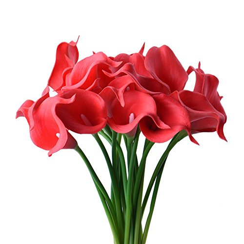 StarLifey Artificial Flowers 20 pcs Real Touch Calla Lily Latex Home Garden Hotel Party Event Wedding Gift Decoration (Red)