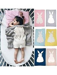 BONTOUJOUR Baby Blanket, Super Cute Rabbit Pattern Knitting Blanket Crochet Newborn Blanket Kids Bedding Cover Bath Towels