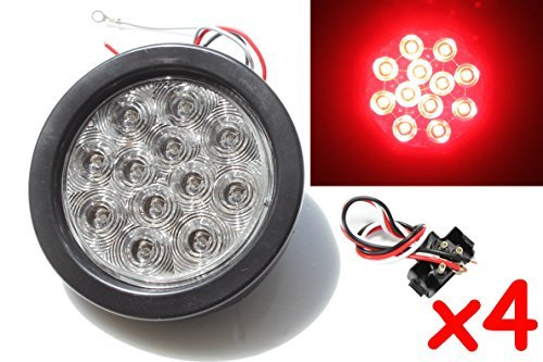 "4 Red 4"" Round LED Brake/Stop/Turn/Tail Light Kit with Grommet Plug Clear Lens KL-25108C-RK"