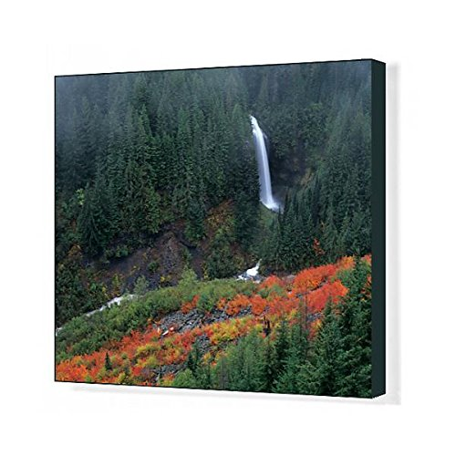 (Media Storehouse 20x16 Canvas Print of WA, Mt. Rainier NP, Martha Falls with Fall Color in Stevens Canyon (11188524))