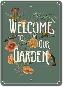 """Welcome to Our Garden Sign, Garden Decor, Garden Lover Gift Aluminum Sign - 10"""" x 14"""""""