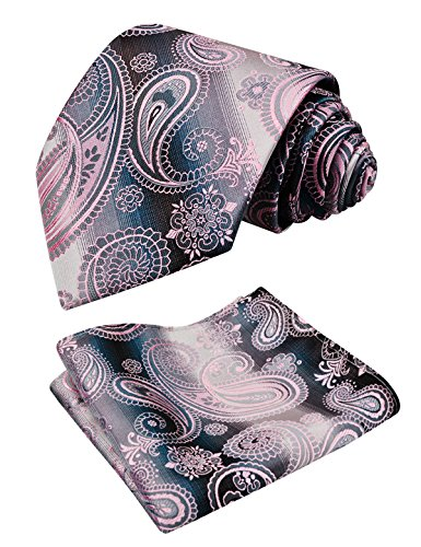 Alizeal Men's Tie Set Gradient Color Paisley Necktie with Pocket Square (59