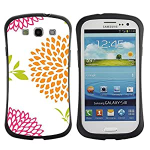 "Hypernova Slim Fit Dual Barniz Protector Caso Case Funda Para SAMSUNG Galaxy S3 III / i9300 / i747 [Vintage Floral Blanco Naranja Rosa""]"