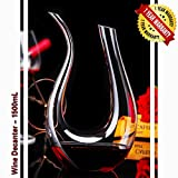 Wine Decanter Crystal Glass Red Wine Carafe Hand Blown Lead-free U Shape 1.5L 8.27x13.39inch