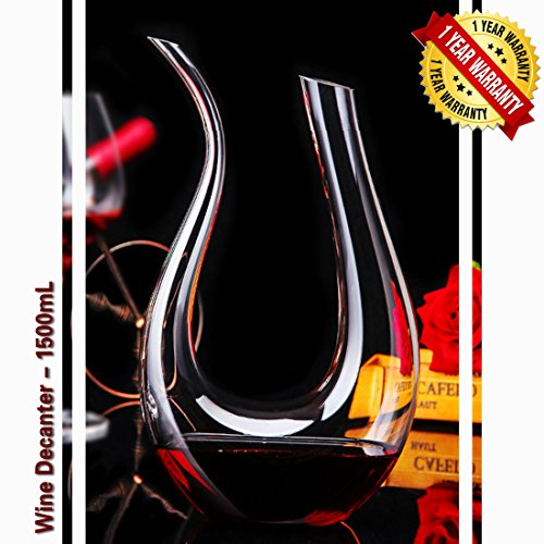 Wine Decanter Crystal Glass Red Wine Carafe Hand Blown Lead-free U Shape 1.5L 8.27x13.39inch by Rare66