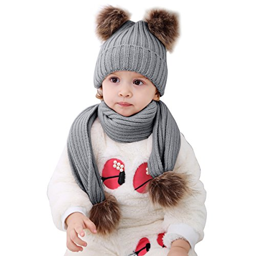 Infant Toddler Baby Double Pom Pom Ball Knit Beanie Cap Hat+ Scarf Gift Set (Baby Pom Pom Yarn)