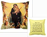Virgin Mary with Angels Adoration Print Picture Throw Pillow