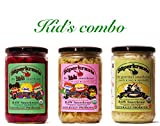 Kid's combo-pack: raw fermented sauerkraut, organic, probiotic, kosher and unpasteurized No shipping charges with this combo pack.