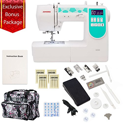 Janome 6100 Computerized Sewing Machine with Exclusive Bonus
