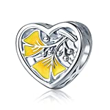 WOSTU 925 Sterling Silver Ginkgo Leaf Bead Charms Womens Heart Shaped Charms for Charm Bracelets