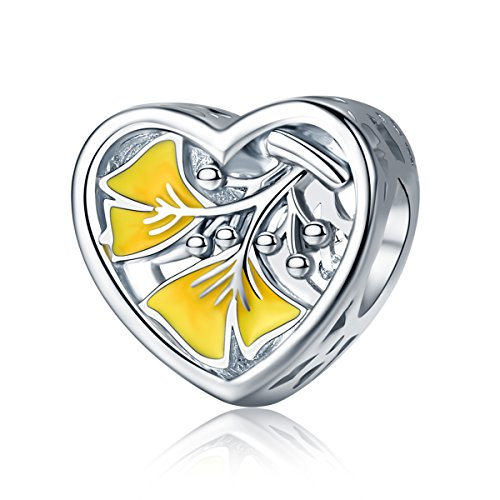 WOSTU 925 Sterling Silver Ginkgo Leaf Bead Charms Womens Heart Shaped Charms for Charm Bracelets by WOSTU