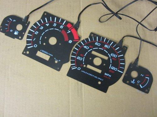 1995-1996 Nissan 240SX Black Face Reverse Glow Gauges for Instrument Cluster Black Reverse Glow Gauge