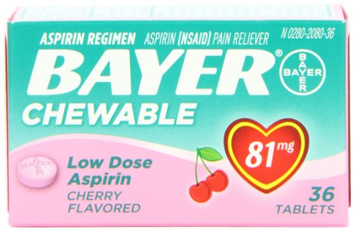 Baby Aspirin (Bayer Chewable Low Dose Baby  Aspirin Cherry  81 Mg 36-Count (Pack of 3))