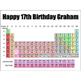 A4 Size Chemistry Periodic Table Birthday Cake Toppers Decorations Personalised On Edible Rice Paper - [Please use the 'Contact Seller' link to send us your personalised message.]