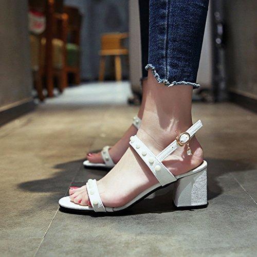 Verano Los tacón señoras de Moda white Minimalista Dedos Alto Zapatos Sandalias Damas YMFIE xXqg1R1