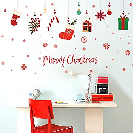 Christmas Decoration Decor GiftMerry Christmas Wall Sticker Wall Art Designed Decal Removable Mural  sc 1 st  Amazon UK & Christmas Decoration Decor Gift:Merry Christmas Wall Sticker Wall ...