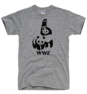 DirtyRagz Men's WWF Funny Panda Bear Wrestling T Shirt HEATHER GREY