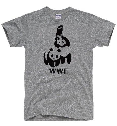 DirtyRagz Men's WWF Funny Panda Bear Wrestling T Shirt 3XL Heather Grey