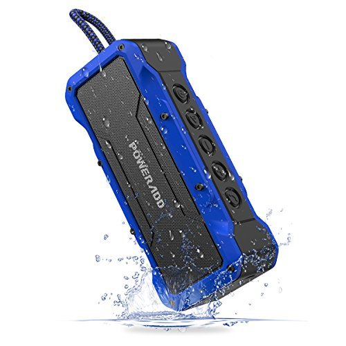 Poweradd MusicFly Indoor/Outdoor Portable Wireless Bluetooth Speakers, 36W Loud Volume, Dynamic Stereo, IPX7 Waterproof, Sandproof, Shockproof, Built in Mic, 24 Hours Playtime, Blue